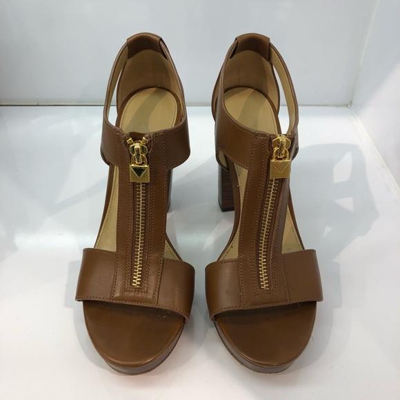 9dfe7577446d Michael Kors Berkley Lock Leather Platform Sandal.  M 5abbfacc2ae12fad81f3ef89